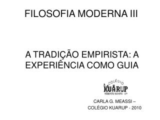 FILOSOFIA MODERNA III