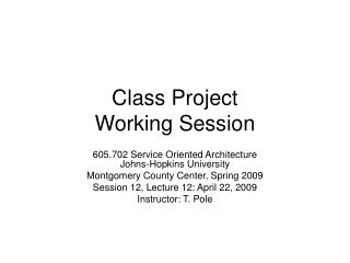 Class Project  Working Session