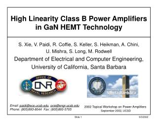 High Linearity Class B Power Amplifiers in GaN HEMT Technology