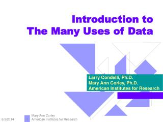Introduction to  The Many Uses of Data