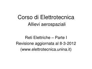 Corso di Elettrotecnica  Allievi aerospaziali