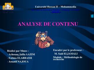 Universit  Hassan II   Mohammedia   Observatoire de Recherche en Didactique  et P dagogie Universitaire   ORDIPU