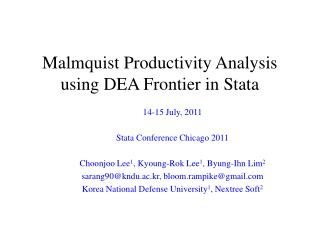 Malmquist Productivity Analysis          using DEA Frontier in Stata