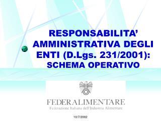 RESPONSABILITA  AMMINISTRATIVA DEGLI ENTI D.Lgs. 231
