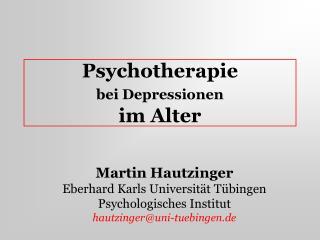 Psychotherapie  bei Depressionen  im Alter