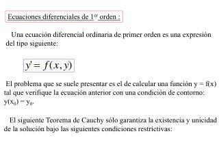 Ecuaciones diferenciales de 1er orden :