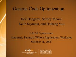 Generic Code Optimization