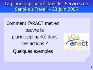 La pluridisciplinarit  dans les Services de Sant  au Travail - 23 juin 2005
