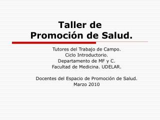 Taller de   Promoci n de Salud.