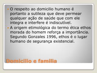 Domicilio e familia