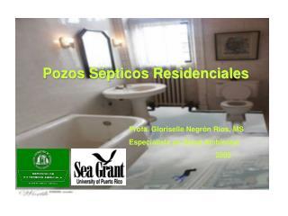 Pozos S pticos Residenciales      Profa. Gloriselle Negr n R os, MS    Especialista en Salud Ambiental       2005