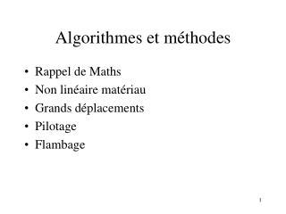 Algorithmes et m thodes
