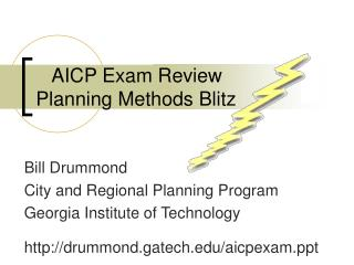 AICP Exam Review Planning Methods Blitz