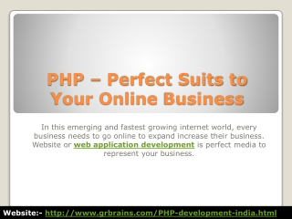 PHP – Perfect Suits to Your Online Business