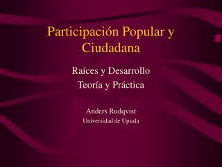 Participaci n Popular y Ciudadana