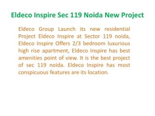 +919899606065} Eldeco Inspire ! Book Eldeco Inspire Noida