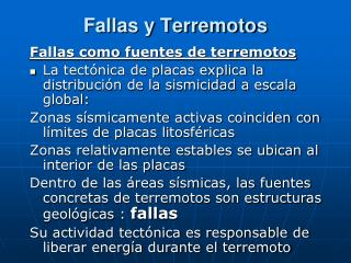 Fallas y Terremotos
