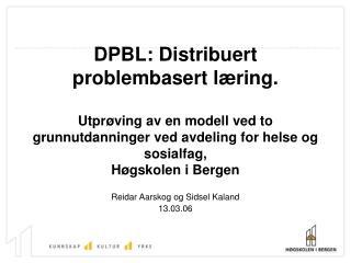DPBL: Distribuert problembasert l ring.  Utpr ving av en modell ved to grunnutdanninger ved avdeling for helse og sosial