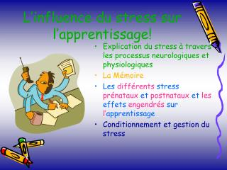 L influence du stress sur l apprentissage