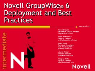 Novell GroupWise  6 Deployment and Best Practices