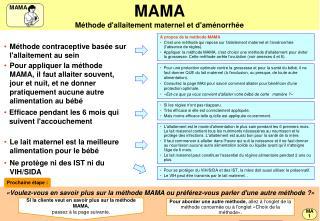 MAMA M thode dallaitement maternel et dam norrh e
