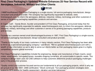 First Class Packaging's Updated Website Enhances 25-Year Ser