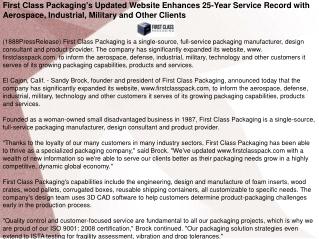First Class Packaging's Updated Website Enhances 25-Year Ser