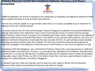 Muskoka Recovery Center Now Combines Addiction Recovery And