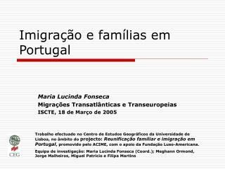 Imigra  o e fam lias em Portugal