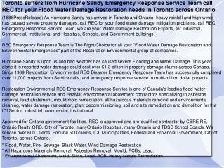 Toronto suffers from Hurricane Sandy Emergency Response Serv