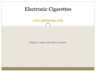 What are Optima Cigs?
