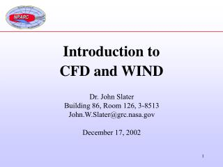 Introduction to  CFD and WIND