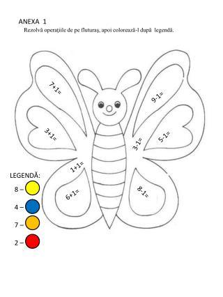 Rezolva operatiile de pe fluturas, apoi coloreaza-l dupa  legenda.