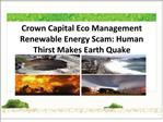 Crown Capital Eco Management Renewable Energy Scam Human Thi