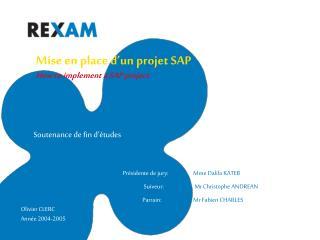 Mise en place d un projet SAP