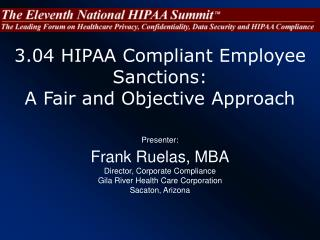 3.04 HIPAA Compliant Employee Sanctions:  A Fair and Objective Approach