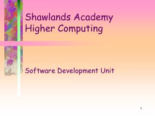 Shawlands Academy Higher Computing