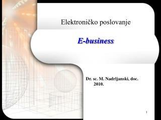 Elektronicko poslovanje  E-business