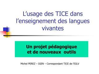 L usage des TICE dans l enseignement des langues vivantes