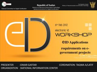 EID Applications requirements on e-government projects