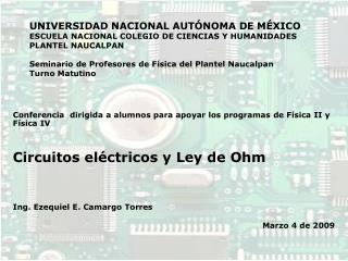 UNIVERSIDAD NACIONAL AUT NOMA DE M XICO ESCUELA NACIONAL COLEGIO DE CIENCIAS Y HUMANIDADES  PLANTEL NAUCALPAN  Seminario