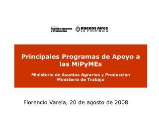 Principales Programas de Apoyo a las MiPyMEs  Ministerio de Asuntos Agrarios y Producci n Ministerio de Trabajo