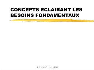 CONCEPTS ECLAIRANT LES BESOINS FONDAMENTAUX