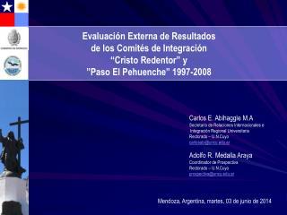 Evaluaci n Externa de Resultados  de los Comit s de Integraci n   Cristo Redentor  y  Paso El Pehuenche  1997-2008