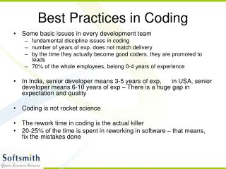 Best Practices in Coding