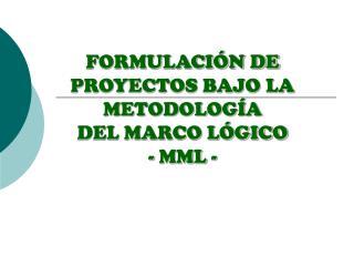 FORMULACI N DE PROYECTOS BAJO LA METODOLOG A  DEL MARCO L GICO - MML -