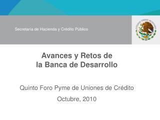 Avances y Retos de  la Banca de Desarrollo  Quinto Foro Pyme de Uniones de Cr dito Octubre, 2010