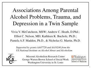 Associations Among Parental Alcohol Problems, Trauma, and Depression in a Twin Sample