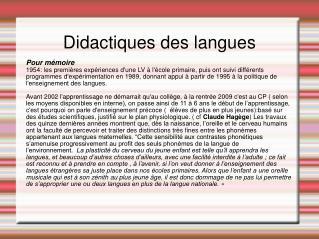 Didactiques des langues