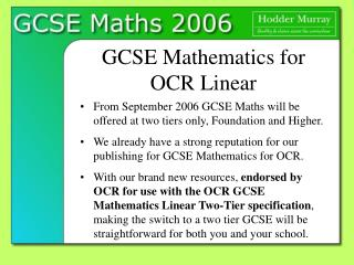 GCSE Mathematics for  OCR Linear
